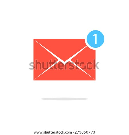 simple red letter icon with one counter notification. concept of spam, service, dispatch, delivery, announcement. isolated on white background. flat style trendy modern design vector illustration - stock vector