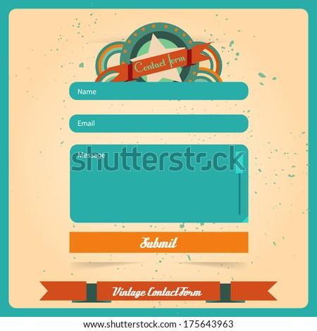 Simple retro vintage contact us form templates. Vector template. - stock vector