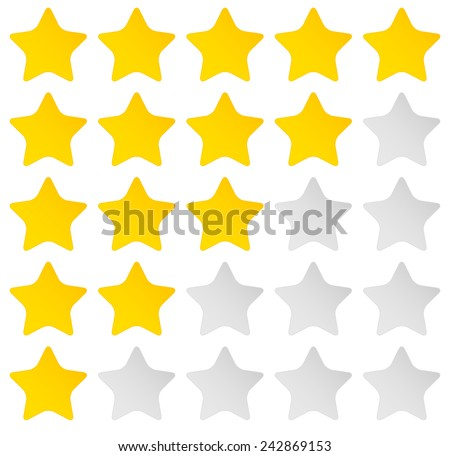 Simple rounded star rating. With outlines makes the stars pop out from background - stock vector