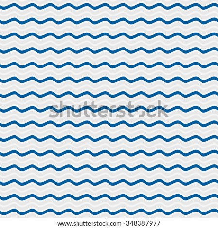 Simple seamless beauty waves background, pattern vector illustration. Blue, white color waves aqua. Summer, winter, spring waves background.  - stock vector