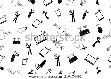 simple seamless doodle Background - telecommunication Signal   - stock vector