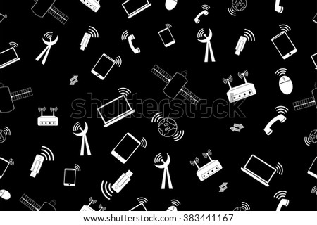 simple seamless doodle Black Background - Telecommunication Signal   - stock vector