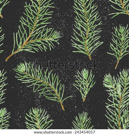 Simple seamless pattern. Green pine branches and leaves on black grunge background. Vectorized watercolor drawing. - stock vector