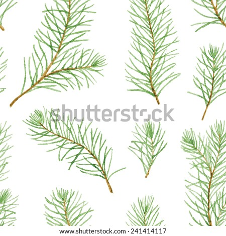 Simple seamless pattern. Green pine branches and leaves on white background. Vectorized watercolor drawing. - stock vector