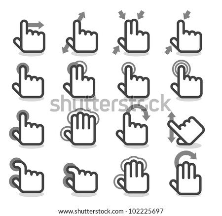 Simple Series | Touch Pad Gestures - stock vector