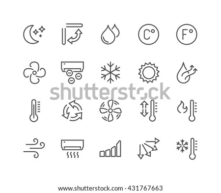 Simple Set of Air Conditioning Related Vector Line Icons.  Contains such Icons as Cool, Humidity, Airing, Ionisation and more.  Editable Stroke. 48x48 Pixel Perfect.  - stock vector