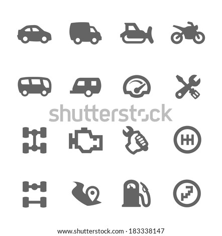 Simple set of auto related vector icons for your design - stock vector