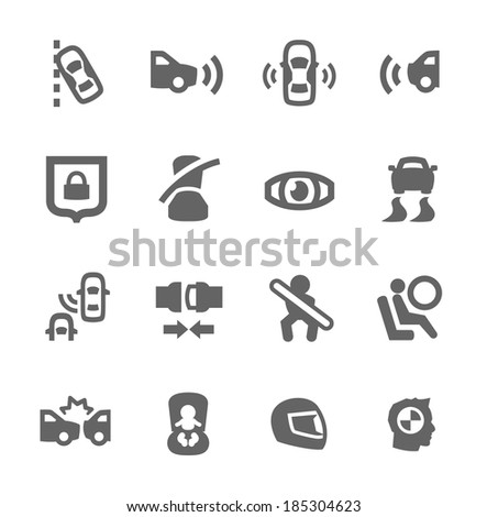 Simple set of auto safety related vector icons for your design - stock vector