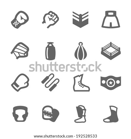Simple Set of Boxing and fighting Related Vector Icons For Your Design - stock vector