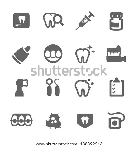 Simple set of dental related vector icons for your design - stock vector