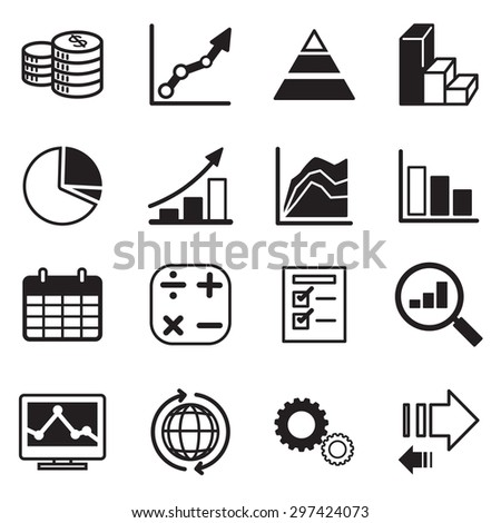 Simple set of diagram and graphs related vector icons set - stock vector