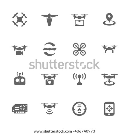 Simple Set of Drone Related Vector Icons. Contains Such Icons as Quadrocopter, Rotor, Radio Antenna, Landing, Remote Control and More. - stock vector