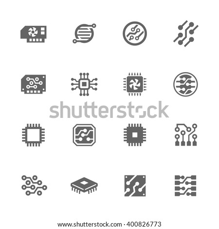 Simple Set of Electronics Related Vector Icons. Contains such icons as circuit, processor, micro-scheme and more. - stock vector