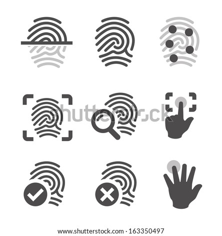 Simple set of fingerprint related vector icons for your design. - stock vector