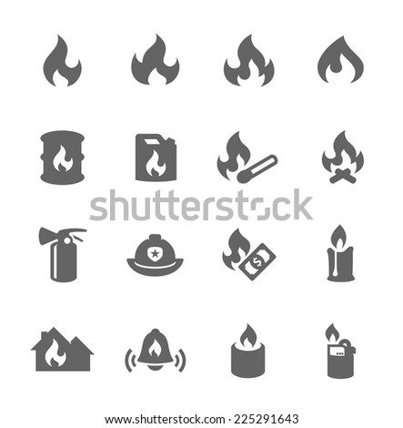 Simple Set of Fire Related Vector Icons for Your Design. - stock vector