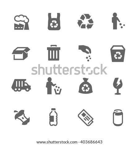 Simple Set of Garbage Related Vector Icons. Contains Such Icons as Plastic Bag, Recycle, Card board and more.  - stock vector