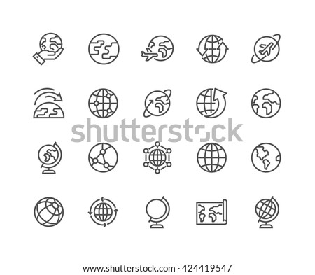 Simple Set of Globe Related Vector Line Icons.  Contains such Icons as World Map, Connections, Global Business, Travel and more.  Editable Stroke. 48x48 Pixel Perfect.  - stock vector