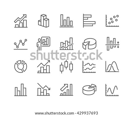 Simple Set of Graph Related Vector Line Icons.  Contains such Icons as Pie Chart, Graphic, Statistics, Column Chart and more.  Editable Stroke. 48x48 Pixel Perfect.  - stock vector