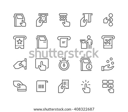 Simple Set of Kiosk Terminal Related Vector Line Icons.  Contains such Icons as Choosing Options, Getting Receipt, Printing Tickets and more. Editable stroke. 48x48 Pixel Perfect.  - stock vector