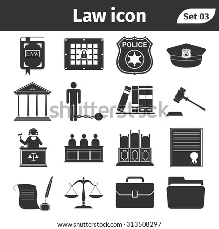 Simple set of Law and Justice related vector icons set - stock vector