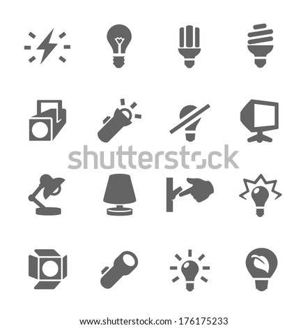 Simple set of light source related vector icons for your design. - stock vector