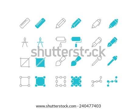 Simple set of paint and draw tools vector icons for web site and mobile app application - stock vector