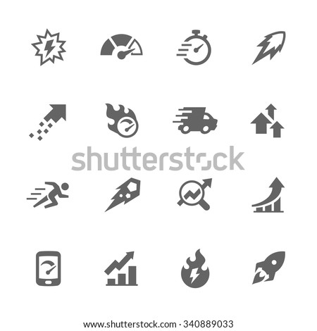 Simple Set of Performance Related Vector Icons. Contains such icons as speed, charts, improvements and more. Modern vector pictogram collection. - stock vector