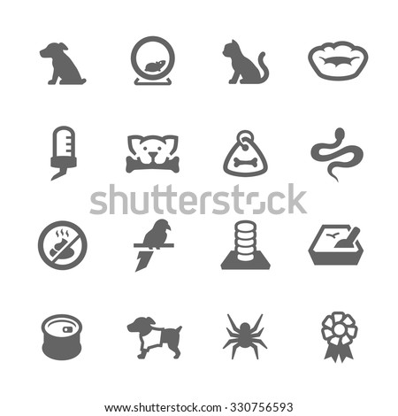 Simple Set of Pets Related Vector Icons for Your Design. - stock vector