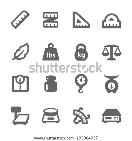 Simple Set of Scales and Rulers Related Vector Icons for Your Design. - stock vector
