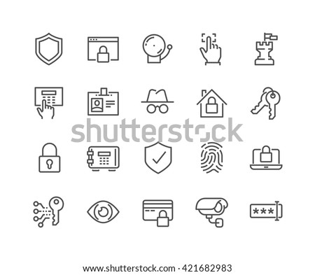 Simple Set of Security Related Vector Line Icons.  Contains such Icons as Finger Print, Electronic key, Spy, Password, Alarm and more.  Editable Stroke. 48x48 Pixel Perfect.  - stock vector