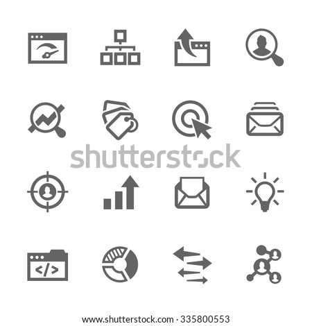 Simple Set of SEO Related Vector Icons. Contains such icons as mailing, target audience, tags, ideas, statistics, optimisation and more. Modern vector pictogram collection. - stock vector