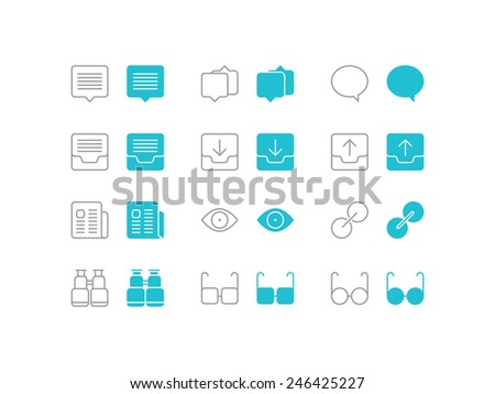 Simple set of speech bubble chat and view vector icons for web site and mobile app application - stock vector