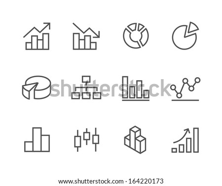 Simple set of stroked diagram and graphs related vector icons for your design. - stock vector