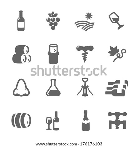 Simple set of Wine related vector icons for your design or application. - stock vector