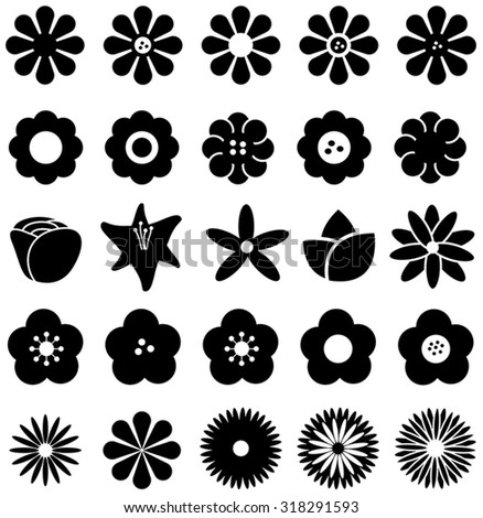Simple shape geometric flower such as rose tulip sunflower daisy and other silhouette icon collection set, create by vector - stock vector