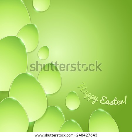 Simple shiny flat eggs on gradient background - green color. Good for Easter design. - stock vector