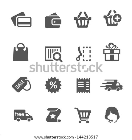Simple shopping icons. - stock vector