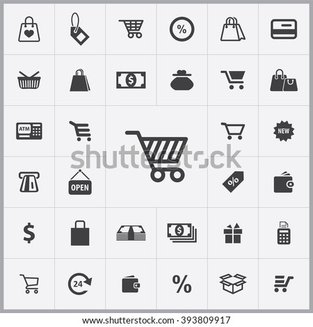 Simple shopping icons set. Universal shopping icon to use for web and mobile UI, set of basic UI shopping elements - stock vector