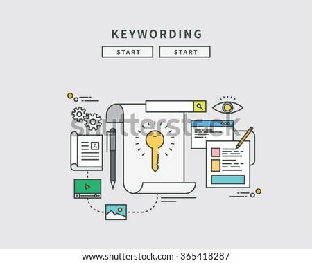 simple simple line flat design of keywording, modern vector illustration - stock vector