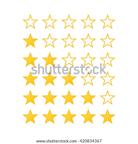 Simple Stars Rating. Yellow Shapes on White Background - stock vector