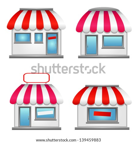 Simple Storefront Icons isolated on white background. - stock vector