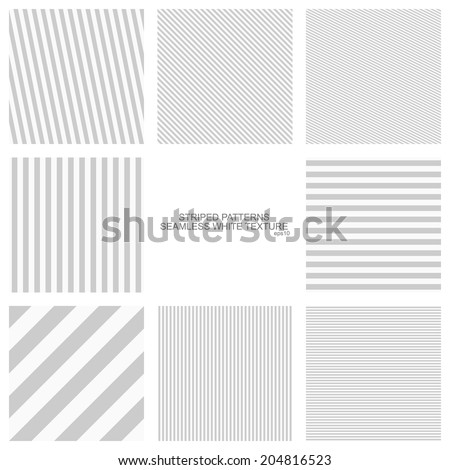 Simple striped patterns, seamless vector backgrounds - stock vector