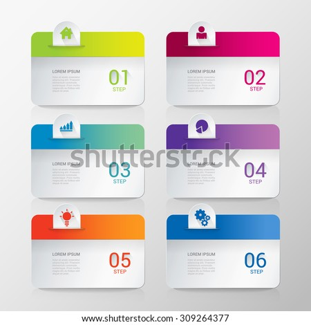 Simple stylish multicolor rounded rectangle labels backgrounds 6 step infographics mockup template. Infographic background concepts collection. - stock vector