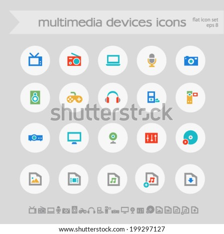 Simple subtle colored multimedia icons on white circles - stock vector