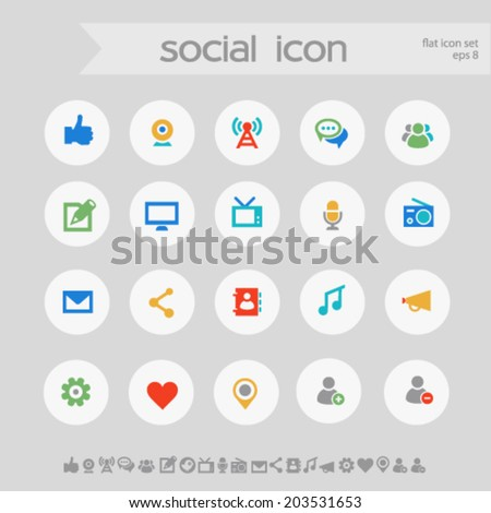 Simple subtle colored social icons on white circles - stock vector
