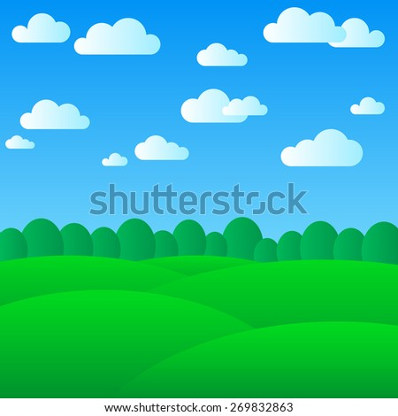 simple summer landscape with silhouette of a forest  - stock vector