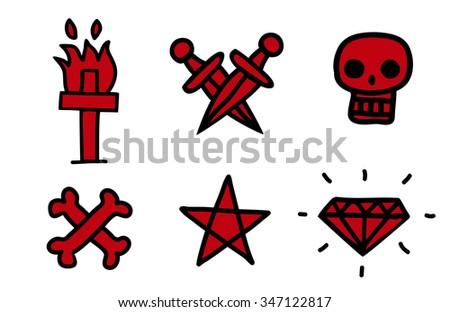 Simple tattoo icon set - stock vector