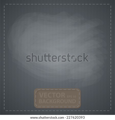 simple texture jeans with a label and a frame of thread - stock vector