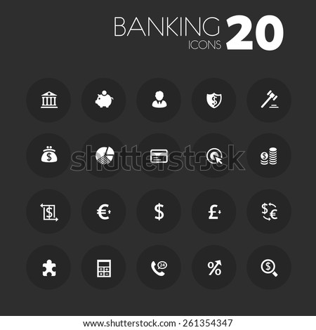 Simple thin banking icons on dark gray - stock vector