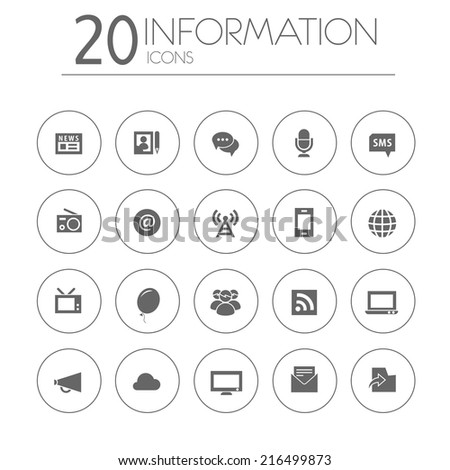 Simple thin information icons on white background - stock vector
